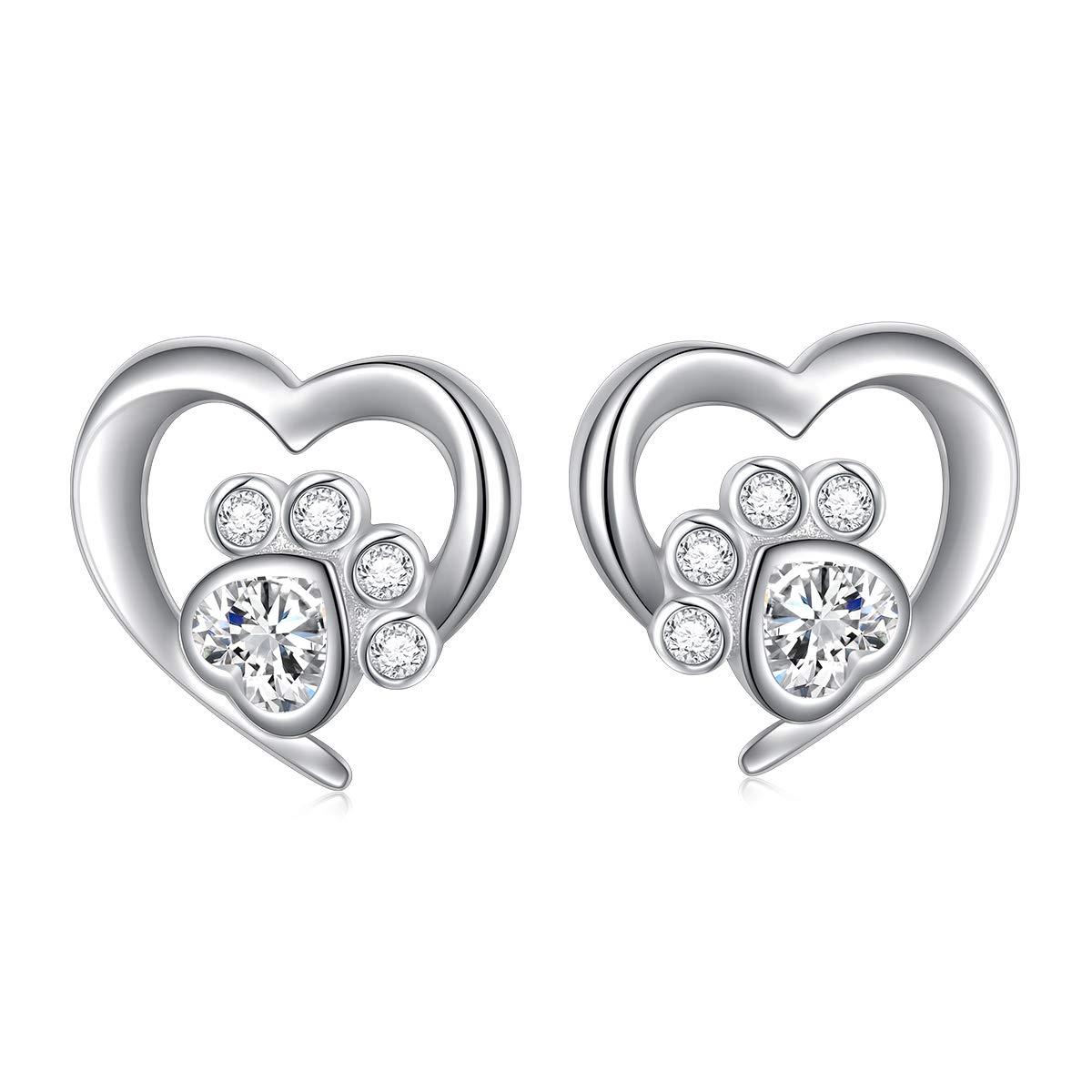 5f7df1002 925 Sterling Silver Cute Paw Print Forever Love Heart Pendant  Necklace/Bracelet/Stud Earrings Gift for Women Girls, Box Chain 18