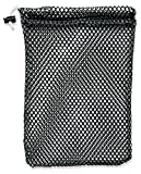 """Mesh Stuff Bag - 7"""" x 10"""" - Durable Mesh Bag with Sliding Drawstring Cord Lock Closure. Great for Washing Delicates, Rinsing Beach Toys, Seashell Collecting or Scout Mess Bags. (Black)"""
