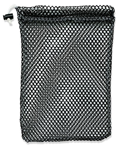 "Mesh Stuff Bag - 11"" x 15"" - Durable Mesh Bag with Sliding Drawstring Cord Lock Closure. Great for Washing Delicates, Rinsing Beach Toys, Seashell Collecting or Scout Mess Bags. (Black) (Nylon Drawstring Bag)"