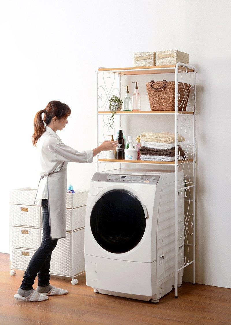 洗濯機ラック ランドリーラック ランドリー収納 アジャスター付 幅75 おしゃれ ホワイト 白 アンティーク B079W61LM5 ホワイト ホワイト