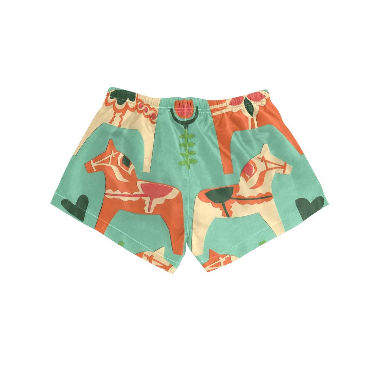 NWTSPY Horse Papercut Womens Sport Beach Swim Shorts Board Shorts Swimsuit with Mesh Lining