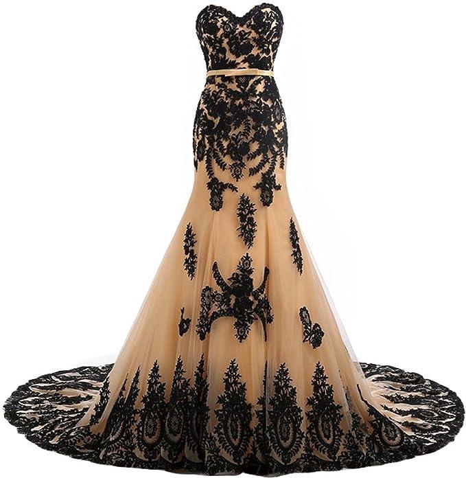 Mermaid Black Lace Gothic Wedding Gown
