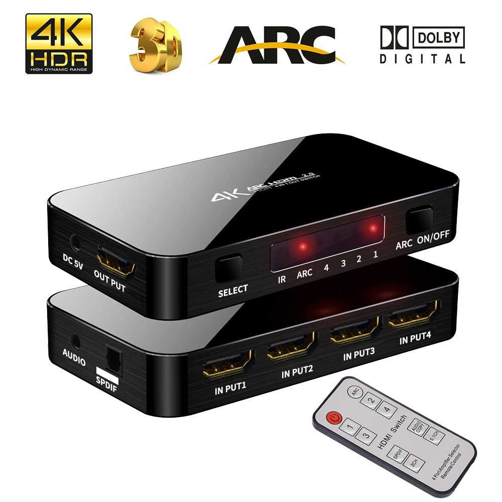 4K Ultra HD HDMI Switch IR Remote Control, 4 Input 1 Output Port 4K X 2K HDMI Switcher Audio Optical TOSLINK, 3.5mm Audio Port Support ARC, 3D, 1080P, 4Kx2K @60Hz HDTV by Anber-Tech