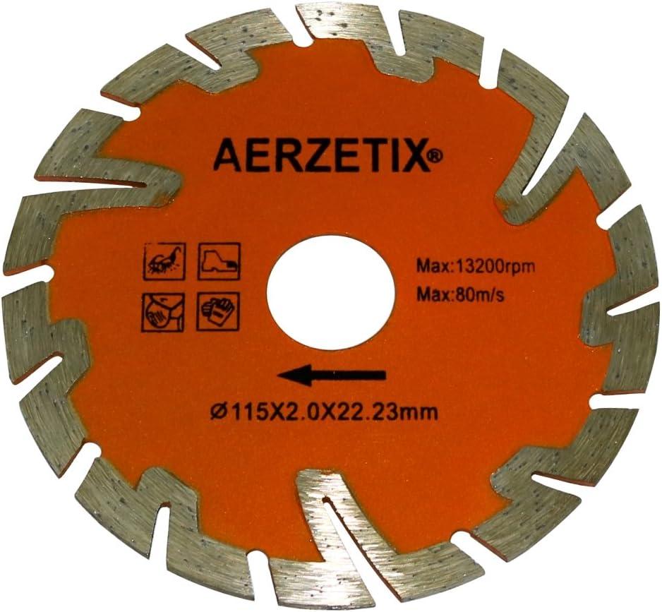 Disco diamantato segmentato 115 mm 22.2 mm per smerigliatrici angolari calcestruzzo di piastrelle di pietra tagliatoio . Aerzetix