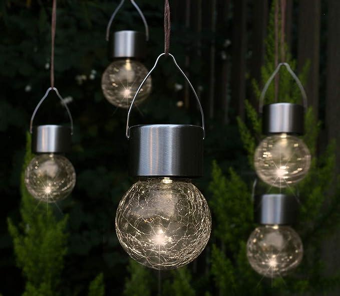 5 x LED Solar – Lámpara de techo – Lámpara de jardín Lámpara Solar decorativa – Lámpara de techo: Amazon.es: Iluminación