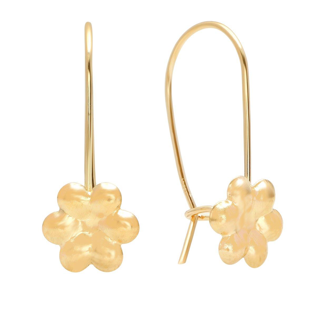 High Polish Shiny Finish Pori Jewelers 14K Solid Gold Lever-Back Flower Drop Earrings