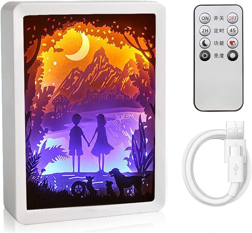 Lamdgbway Papercut Light Box 3D Shadow LED Night Light Lamp Creative Paper Sculptures Lights ABS Frame Desktop Lamp with Remote Control Lovers