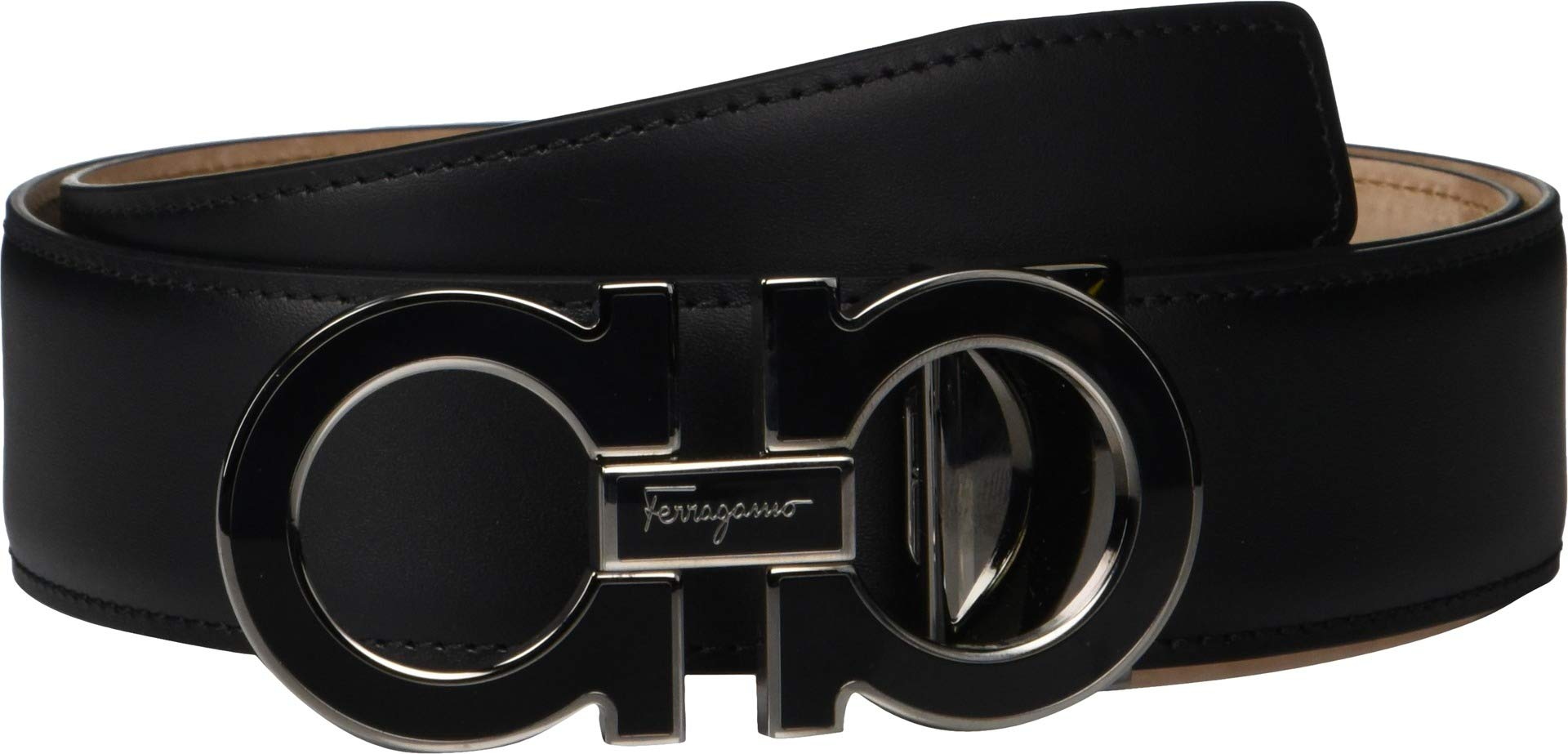 Salvatore Ferragamo Men's Outline Dress Belt - 679750 Black 2 40