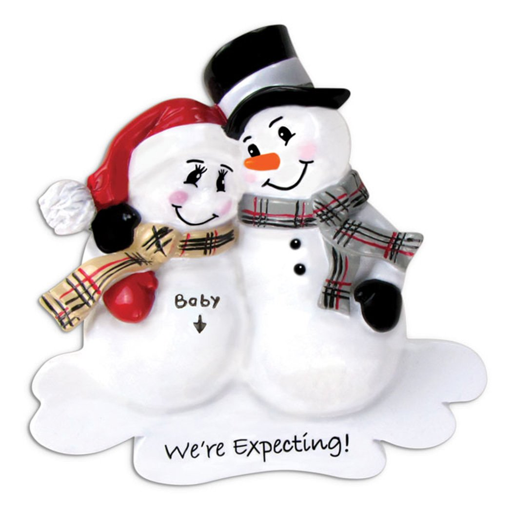 Personalized We're Expecting Christmas Ornament for Tree 2018 - Pregnant Mom to Be Dad Snowman Couple Love Bump - New Baby Coming Shower Boy Girl Gender Neutral Parent - Free Customization by Elves Ornaments by Elves
