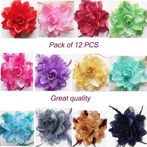 12 Color 4 Inch Elegant Feather Flower Hair Clip Bows For Men Women Lady Baby Girls Fabric Wedding Party Hairpin (12Pcs Mix Color) ()