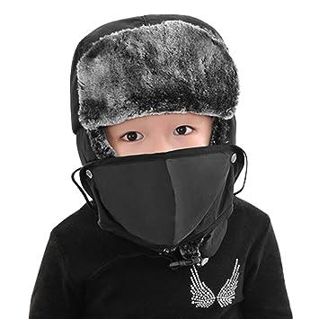 c2d78d587a Enfant Chapka Ski Snowboard Hiver Bonnet de Russe en Faux Fourrure Chapeau  de plein air Epais