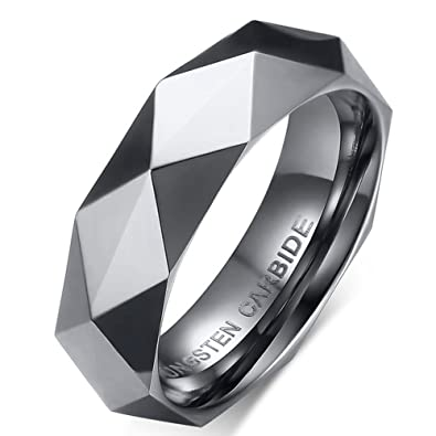 6mm Tungsten Carbide Mens Wedding Bands Unique Geometry Cut