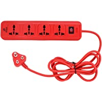 E-Tech 4 Socket Extension Box Board with Surge Protector | Spike Guard | Power Strip | Extension Cord | Flex Box | Power Indicator- 6 feet Long Cable (Red)