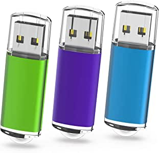 Memorias USB 64GB, TOPESEL Pendrives Flash 2.0 USB Sticks Flash Drives Llaves USB, Pack de 3 Unidades, 3 Colores Azul Verde Púrpura: Amazon.es: Informática