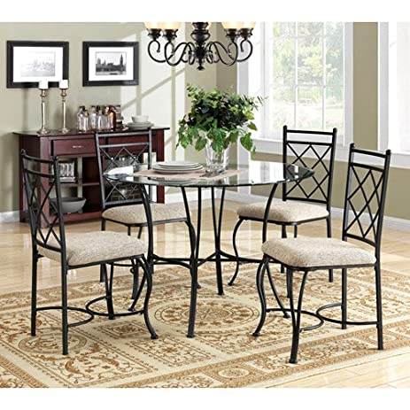 Amazoncom Mainstays 5piece Glass Top Metal Dining Set Table