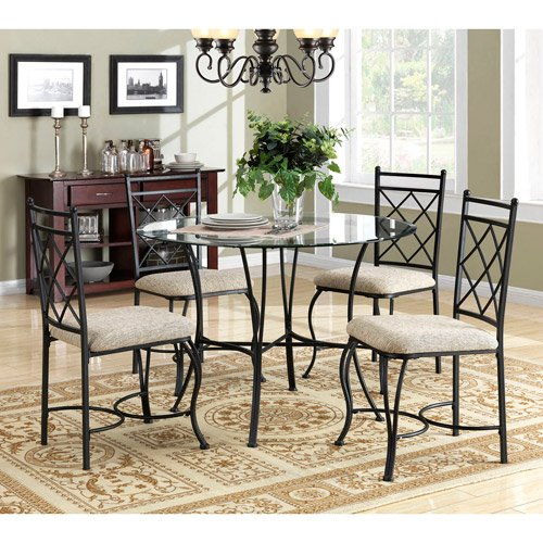 Amazon.com - Mainstays 5-piece Glass Top Metal Dining Set - Table \u0026 Chair Sets  sc 1 st  Amazon.com & Amazon.com - Mainstays 5-piece Glass Top Metal Dining Set - Table ...