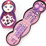 Misaky 6 in 1 Stainless Steel Manicure Pedicure Set with Russian Doll Case (Purple)