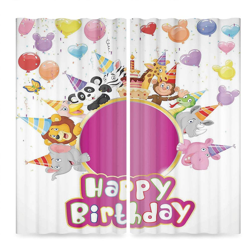 Birthday Decorations for Kids Small Window Blackout Curtains,Baby Safari Animals with Party Cones Balloons Cake Image,for Bedroom Living Dining Room Kids Youth Room, 2 Panel Set, 28W X 39L Inches