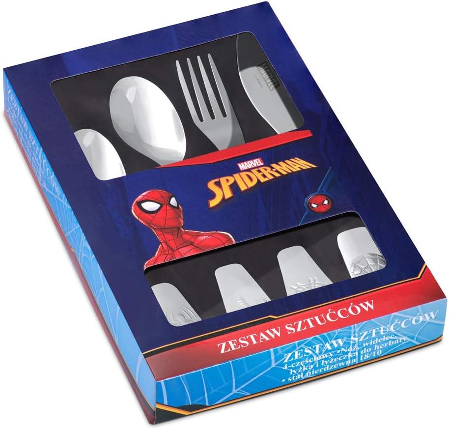Murrano Kinderbesteck Set mit Gravur Geschenk f/ür Jungen Spiderman sp/ülmaschinengeeignet 4 teiliges Besteck Set f/ür Kinder ab 3 Jahren aus Edelstahl