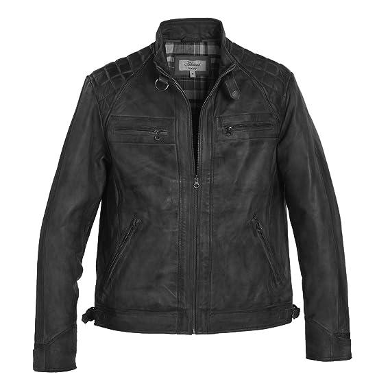 d88637fb342 Ashwood Mens Gents Full Leather Centre Zip Jacket Quilt Design Shoulders   Amazon.co.uk  Clothing