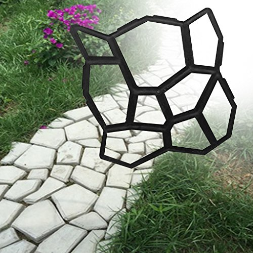 Seaskyer Artificial DIY Garden Stone Road Maker Concrete Mold Manual Paving Cement 9Grids