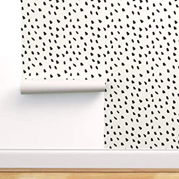 Spoonflower Peel And Stick Removable Wallpaper Painterly Dots Black White Painted And Wild Animal Print Self Adhesive Wallpaper 12in X 24in Test Swatch Amazon Com