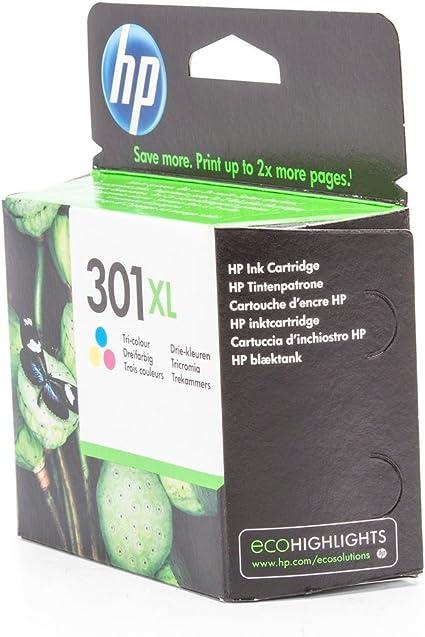 HP 301XL Tri-color Ink Cartridge - Cartucho de tinta para impresoras (Cian, magenta, Amarillo, Tri-color, Inyección de tinta, 20-80%, -40-60 °C, 15-32 °C) Si: Amazon.es: Oficina y papelería