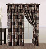 4 Piece Brown / Black Animal Print Safari Patchwork Microfur Curtain set with attached Valance and Sheers – Leopard, Zebra, Cheetah Etc. Review
