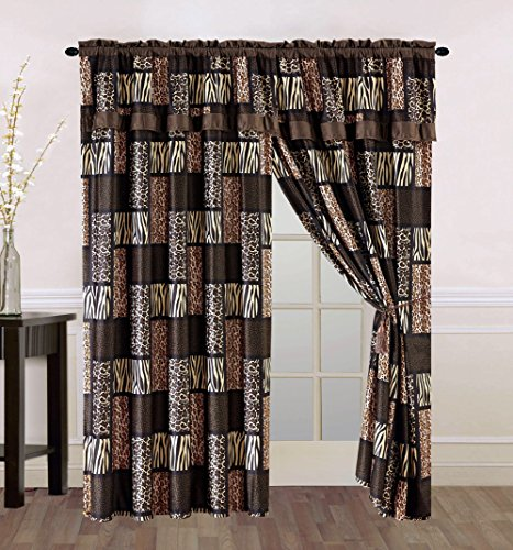 - 4 Piece Brown / Black Animal Print Safari Patchwork Microfur Curtain set with attached Valance and Sheers - Leopard, Zebra, Cheetah Etc.