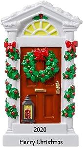 Personalized Historic House Door Christmas Tree Ornament 2020 - Elegant Red Garnish Wreath New Home Winter Family Holiday Mates Host Neighbor Vintage Lantern Lamp Gift Year - Free Customization