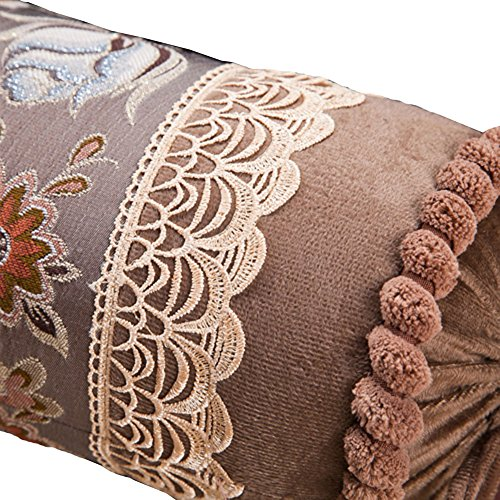 - European Palace Luxury Long Sofa Pillow Candy Cylinder Bolster Pillow Nap Containing Core (Brown)