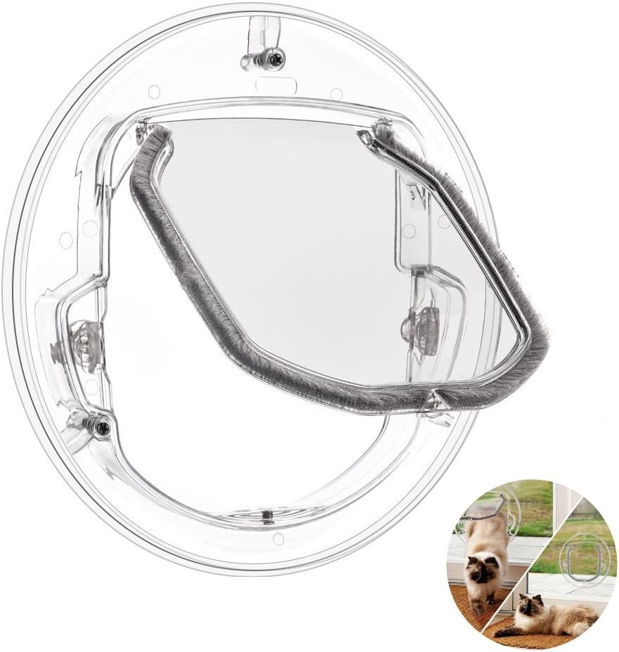 Ventana puerta de mascota de 4 vías con cerradura para gato, cachorro perro puerta con cerradura, puerta redonda transparente para ventana de pantalla puerta corredera de cristal ventana de cristal