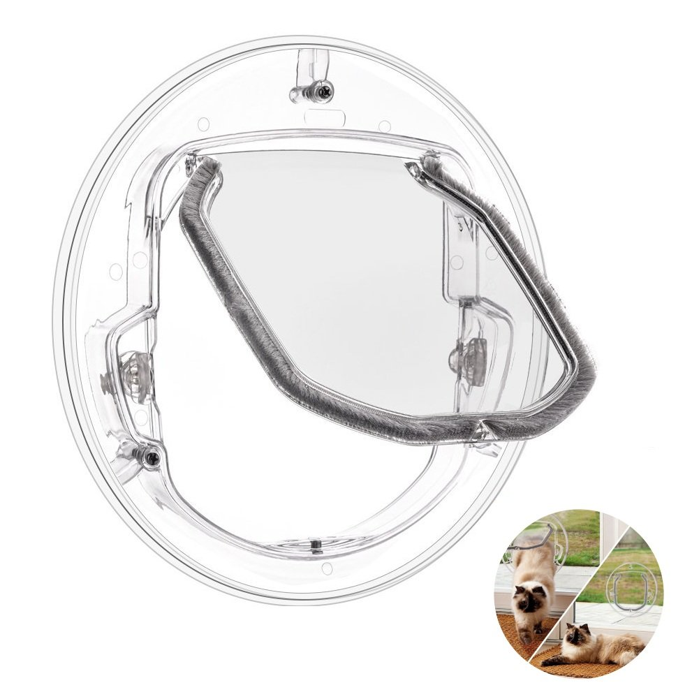 Mode pour animal domestique Chien Verrou de fenêtre/porte 4Way Cat Puppy Doggie Porte verrouillable ronde transparente Gate pour l'écran fenêtre/porte coulissante en verre/fenêtre en verre Homesupplier