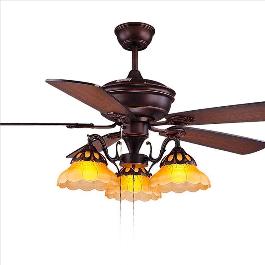 FFLJT Lámpara del dormitorio antiguo ventilador de techo decorativo retro luz de techo de madera sala de ventilador araña de Vida Creativa Con -American Estilo