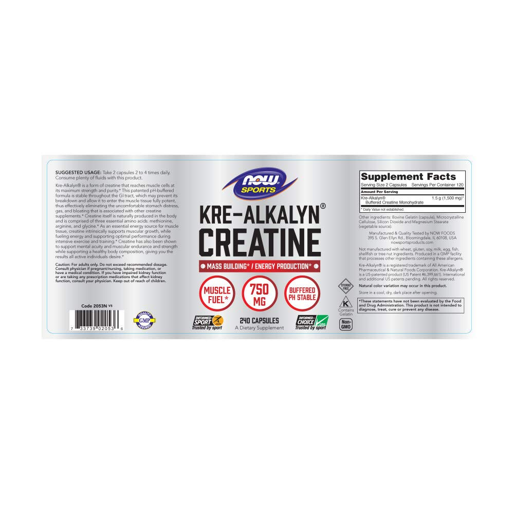 NOW Kre-Alkalyn Creatine, 750 mg, 240 Capsules
