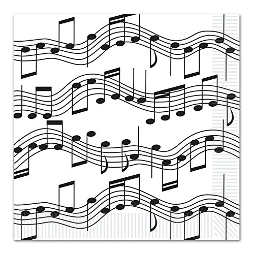 Club Pack of 192 Black and White Musical Notes Disposable 2-Ply Luncheon (Musical Note Ornaments)
