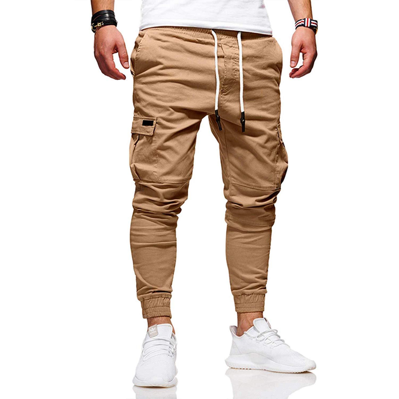 WIFORNT Men's Slim Fit Jogger Cargo Pants Drawstring Chino Trousers Sweatpants
