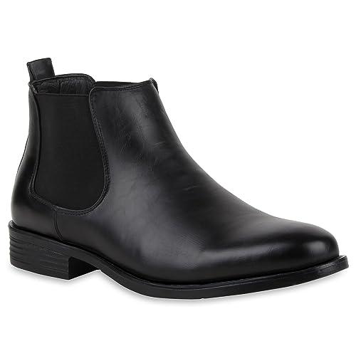 c79e1fa1f34557 Stiefelparadies Warm Gefütterte Herren Chelsea Boots Leder-Optik Schuhe  110203 Schwarz Gefüttert 39 Flandell