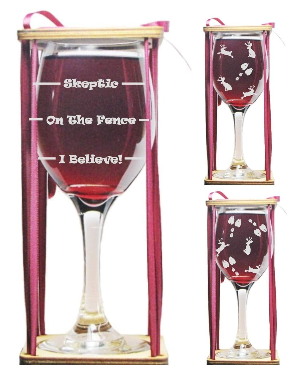 Jackalope Drink 'Till You Believe Stemmed Wine Glass with Charm and Presentation Packaging