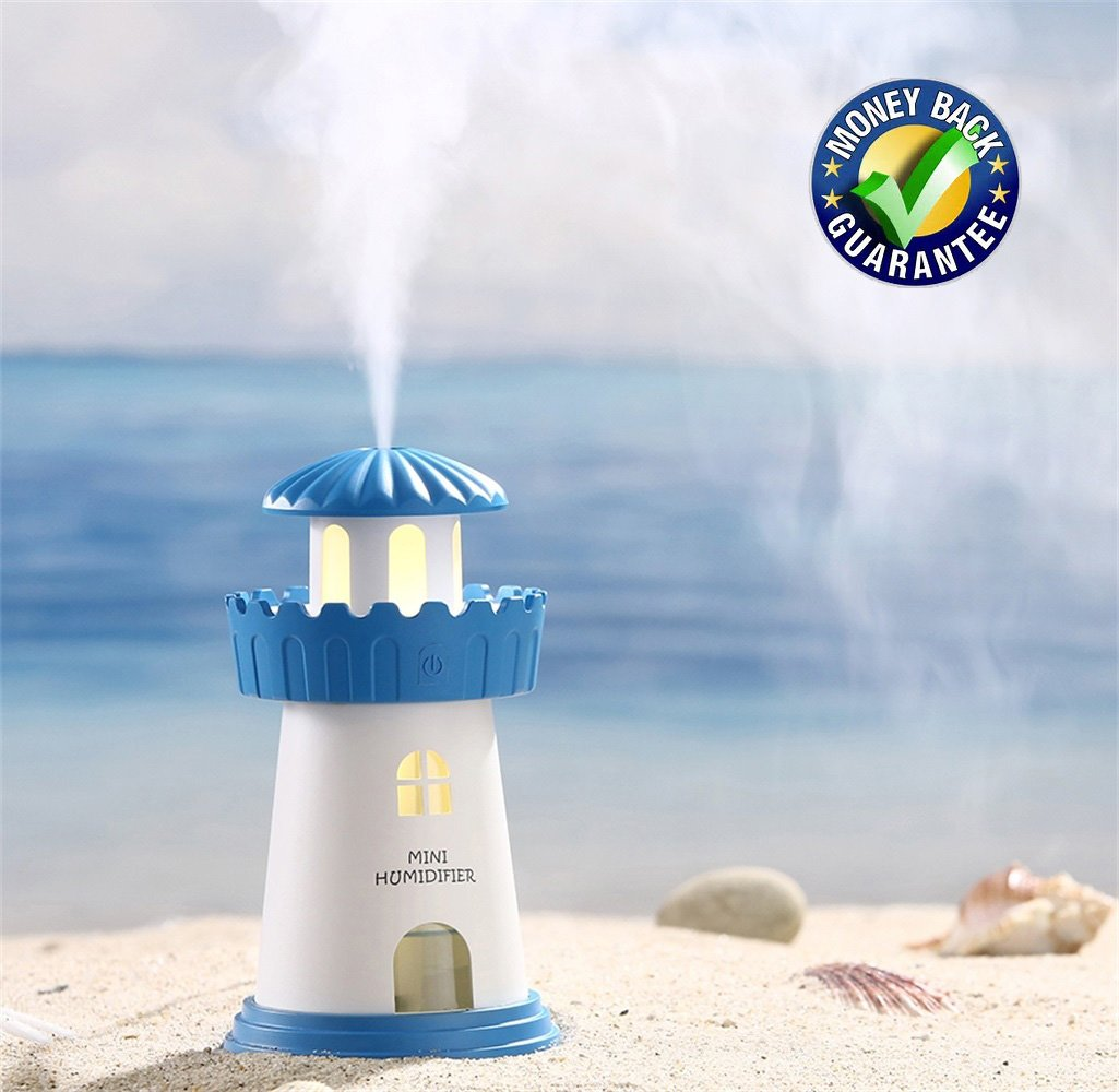 Febote Mini Humidifier Lighthouse, LED Nightlight Air Humidifier with Waterless Auto Shut-off function for Home, Children's room, Desk Bedroom office (Blue)