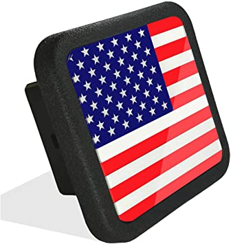 Metal USA Flag Trailer Hitch Cover VaygWay American Flag Hitch Cover Patriotic Flag Plug Hitch Cover