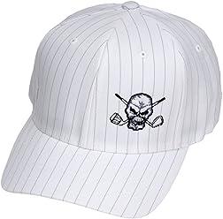 Tattoo Golf Pinstripe FlexFit Golf Hats - White - S M (6 3  875d750e05fc