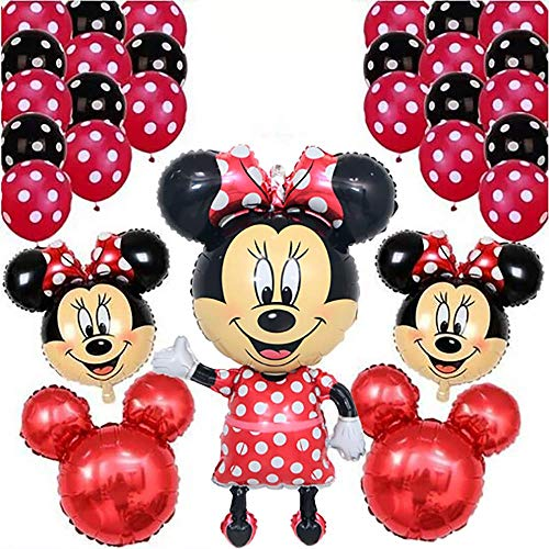 CuteTrees Minnie Mouse 1st 2nd 3rd 4th 5th 6th 7th 8th 9th birthday party balloons set with giant mickey mouse mickey head latex balloons party supplies party decoration 29 pcs -