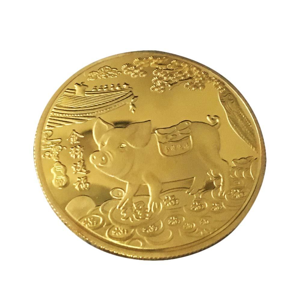 daffodilblob 2019 Pig Year Commemorative Coin Gilding Present Souvenir Year Craft Gift 4cm/1.57'' Pig Design