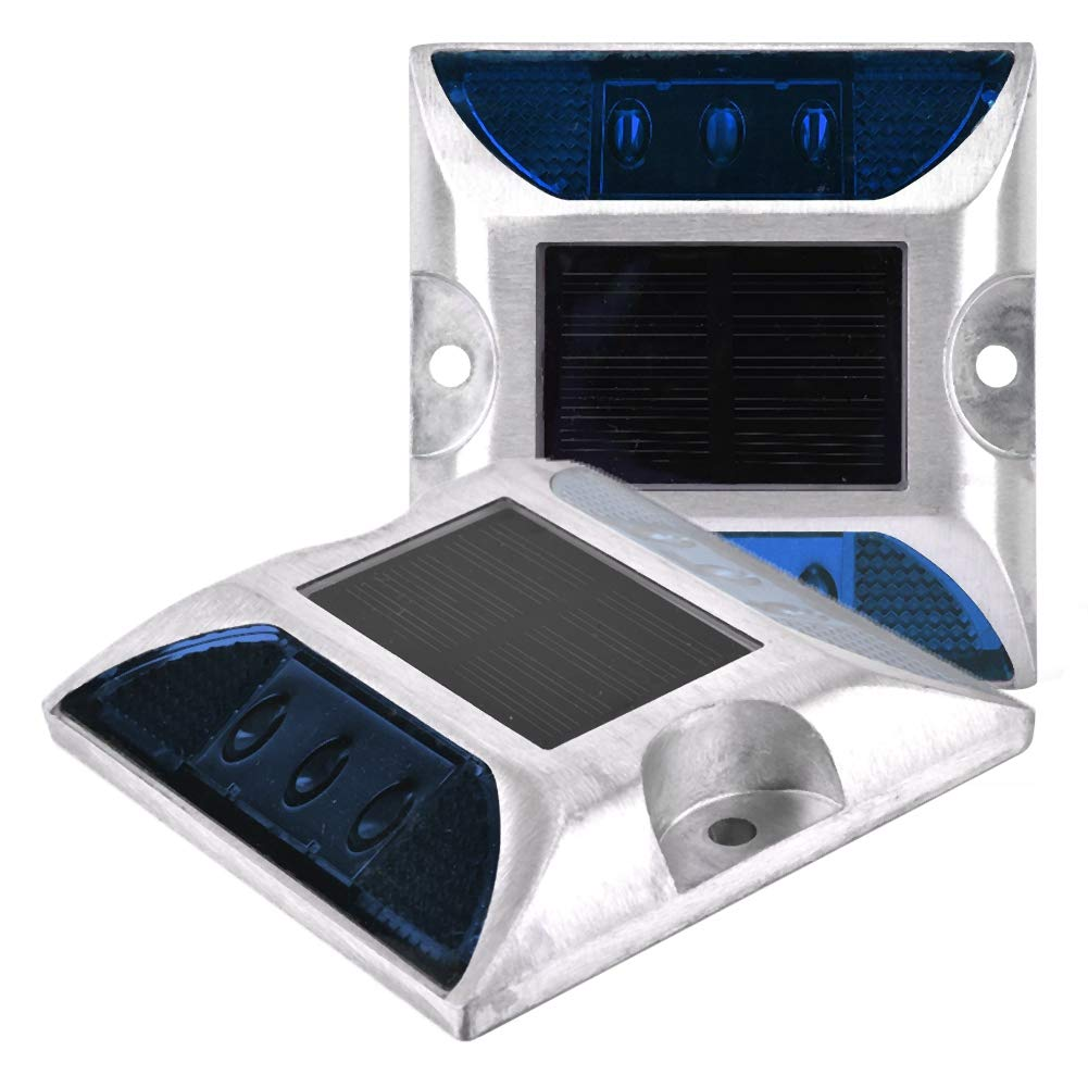 2 Pac Solar Ground Lights LED Lights, Waterproof Outdoor Driveway Road Lamp for Road,Path,Deck,Dock,Driveway,Garden (Blue Light) by Sonew