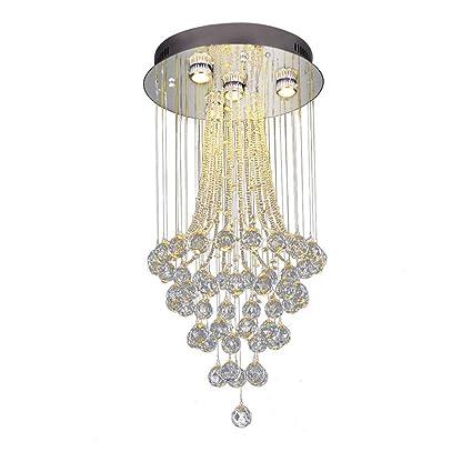 WHL.HH Moderno K9 Cristal Gota de Agua Candelabro LED ...