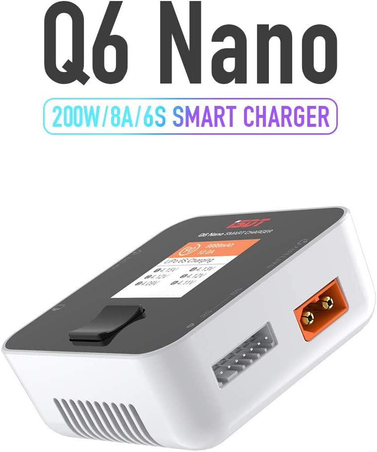 ISDT Q6 Nano LiPo Charger 1-6S Balance Battery Discharger 200W 8A Smart Balance Charger for Lipo Life Li-ion LiHv Pb NiMh//Cd Battery Field Charging