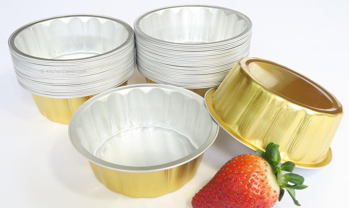 KitchenDance Disposable Aluminum 8 oz. Individual Cake Cups/Dessert Pans. #A8P (Without Lids, Gold, 1000)