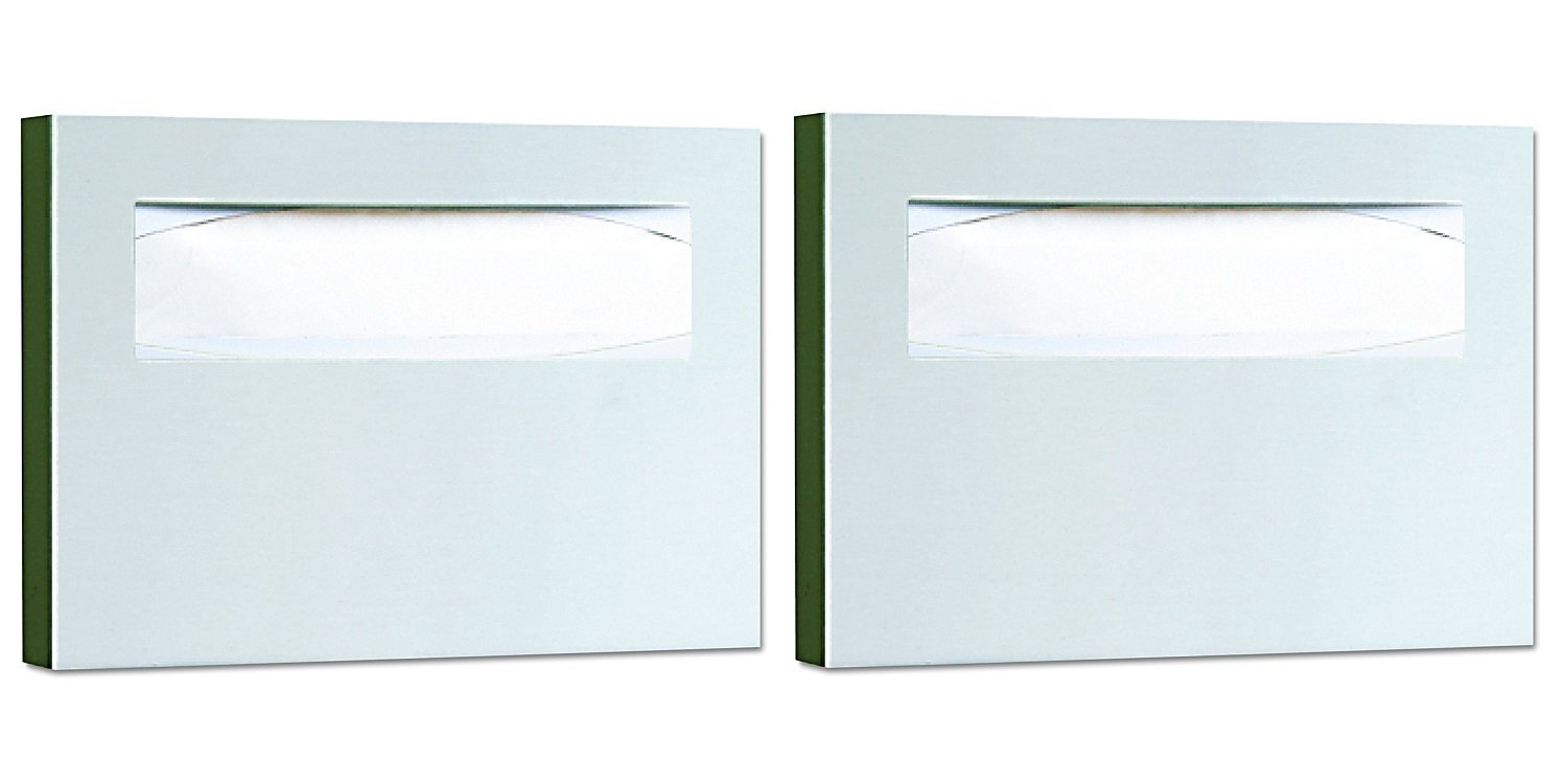 Bobrick 221 Stainless Steel Toilet Seat Cover Dispenser, 15 3/4 x 2 x 11, Satin Finish (Pack of 2)