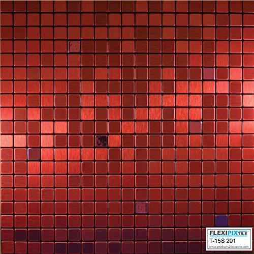 FLEXIPIXTILE, Modern Aluminum Mosaic Tile, Peel & Stick, Backsplash, Accent Wall, 1 sq.ft,RED VELVET